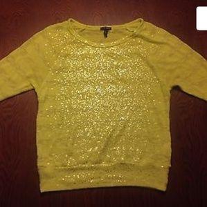Fang yellow glitter soft sweater. Semi-Sheer Neon